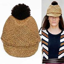 New 375 Burberry Prorsum Runway Gold Straw Pompom Summer Exotic Cap Sun Hat S Photo