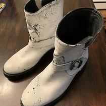 New 378 Frye Natalie Short Lug Engineer Boots in White Distressed Size 6b Photo