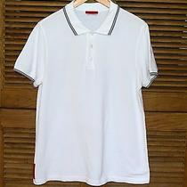 New 380 Prada White Pique Polo Short Sleeve Shirt Sz Medium Photo