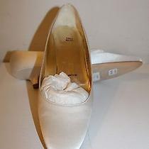 New 385. Vera Wang White Satin Bridal Wedding Shoes Women's Size 38.5 Italy Photo