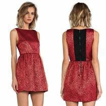 New 390 Alice  Olivia Vita Red & Black Metallic Animal Print Dress 10 Photo