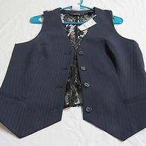 New 40 Sz 11/12 Navy Blue Express Lace Back 66a Womens Suit Vest Waistcoat Photo