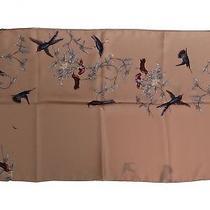 New 400 Dolce & Gabbana Scarf Beige 100% Silk Bird Print Wrap 190cm X 60cm Photo