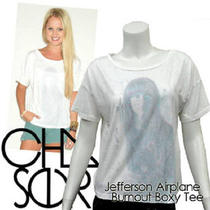 New 52 Chaser La Jefferson Airplane Grace Slick White Fadeout Boxy Tshirt S Sm Photo