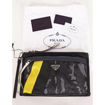 New 550 Prada Men Black Blue Camo Sporty Stripe Logo Wristlet Clutch Travel Bag Photo