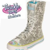 New 59.99 Skechers Twinkle Toes Bizzy Bunch Youth Girls Shoes Boots Sz 3.5 M Photo