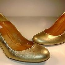 New 593 Lanvin Gold Metallic Leather Espadrille Wedge Pump Shoes Size 39/9 Photo