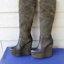 New 595 Stuart Weitzman Kneedeep Womens Wedge Platform Boots Sz 8 Free Sh Photo