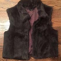 New 595 Theory Rabbit Fur Mahogany Vest Jacket Sz L Photo