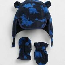 New 6-12m Baby Gap Baby Dino Trapper Boys Hat & Mitten Set in Blue & Black Photo