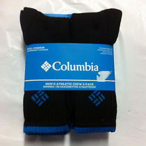 New 6 Pack Columbia Athletic Crew Socks Black With Blue L 10-13  24 Photo
