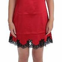 New 600 Dolce & Gabbana Red Black Silk Lace Dress Lingerie Chemise It2 /us S Photo