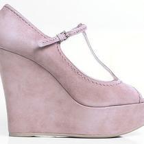 New 640 Miu Miu Prada Open-Toe T-Strap Blush Suede Platfroms Wedges Shoes 41 11 Photo