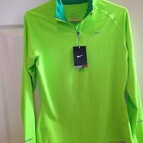 New 65 S Nike Element 1/2 Half Zip Mock Ls 602677 Running Lime Green Photo