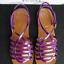 New 650 Ysl Yves Saint Laurent Purple Sandals 36.5 Patent Leather Gladiator Photo