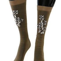 New 660 Dolce & Gabbana Socks Gold Stretch Floral Clear Crystal Stockings S. S Photo