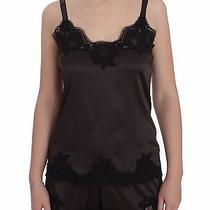 New 680 Dolce & Gabbana Brown Silk Stretch Lace Top Lingerie Cami S. It2 / Us S Photo