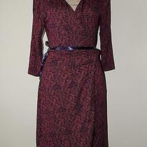 New 69 Express Jersey True Wrap Dress Maroon/purple Circle Print Retro Large  Photo