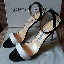 New 7 / 375 Manolo Blahnik Chaos Suede Black Leather White Open Toe Ankle Pump Photo