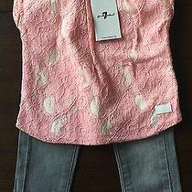 New 7 for All Mankind Baby Girls 2 Piece Set Jeans and Lace Tee Pink Gray 18 Mo Photo