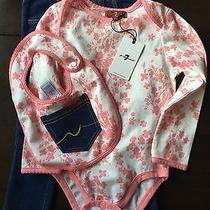 New 7 for All Mankind Baby Girls 3 Piece Set Jeans Long Sleeve Bodysuit Bib 24 M Photo