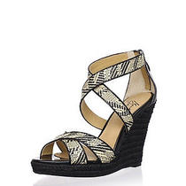 New 7 M 245 Badgley Mischka Mark & James Reza Black Wedge Sandals Heels Saks Photo
