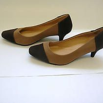 New 70 Comfortview Christie 8.5m Tan & Chocolate Combo 2 1/4 Heel Pump Shoe Photo