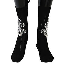 New 720 Dolce & Gabbana Socks Black Knitted Floral Clear Crystal Stockings S. S Photo
