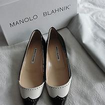 New 735 Manolo blahnikblack&white Brouge Patent Leather Ballet Flats Shoe37 7 Photo