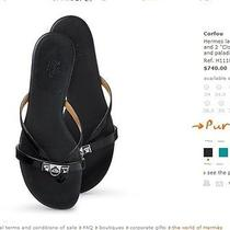New 740 Hermes Corfou Sandals Flip-Flops Shoes Black 38 8 Photo