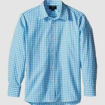 New 75 Oscar De La Renta Boys Blue White Long-Sleeve Button-Down Shirt Size 6y Photo