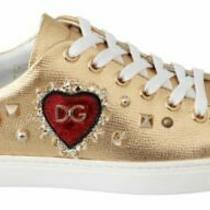New 750 Dolce & Gabbana Sneakers Shoes Gold Leather Red Heart eu35/us4.5 Photo