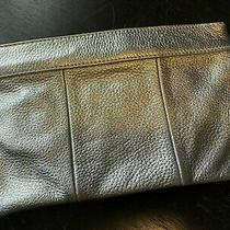 New 78 J.crew Madewell Metallic Tumbled-Leather Envelope Clutch Silver Photo