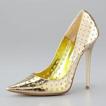 New 795 Jimmy Choo Mime Perforated Mirrored Leather Pump Shoes Gold Size 37/7 Photo