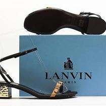 New 795 Lanvin Black/beige Lea. Ankle Strap Sandal W/ Metallic Heel 39.5 / 9.5 Photo
