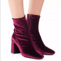 New 8 Jeffrey Campbell Cienega Lo Maroon Velvet Ankle Booties  Photo