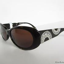 New 80 Brighton Moon River Women Sunglasses Brown Tortoise Silver Crystals Rare Photo