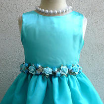 New 803 Aqua/pool Blue Satin Recital Wedding Flower Girl Dress Sz 2 4 6 8 10 12 Photo