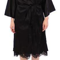 New 850 Dolce & Gabbana Robe Lingerie Black Silk Lace Dressing Gown It L / Us10 Photo