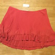 New 88 Banana Republic Orange Mini Skirt Pleated Double Layer Lined Ladies 14 Photo