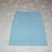 New 89 Talbots Turquoise Cane Jacquard a-Line Cotton Skirt Sz 8p8 Petite Photo