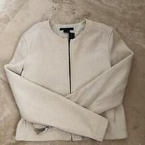 New 895 Theory Ivory Leather Coat Jacket Size 4 Photo