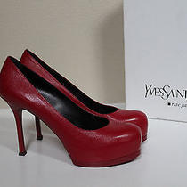New 9 / 39 Ysl Yves Saint Laurent Tribtoo 80 Red Leather Platform Pump Shoes Photo