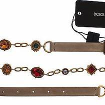 New 900 Dolce & Gabbana Belt Beige Suede Multicolor Crystal Waist S. S / 70cm Photo