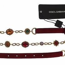 New 900 Dolce & Gabbana Belt Red Suede Multicolor Crystal Waist S. M / 85cm Photo