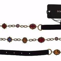 New 960 Dolce & Gabbana Belt Black Suede Gold Brass Color Crystal Waist S. L Photo