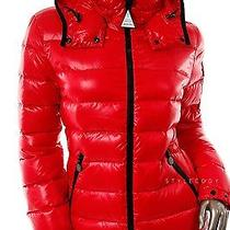 New 975 Moncler Womens Red Lacquer Nylon Quilt Down Hooded Puffer Jacket Coat 1 Photo