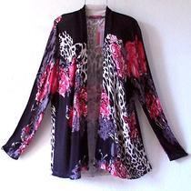 New98black Ivory Leopard Blush Red Rose Cardigan Sweater Plus Top22/24/2x Photo