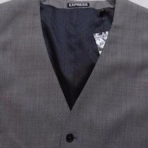 New 98 Express Mens Micro Houndstooth Suit Vest S Nwt Black White Gray Photo