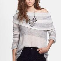 New 98 Free People Ivory/grey 'Lulu' Rugby Stripe Cowl Neck Sweater Size S Photo